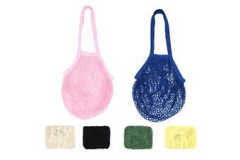 (White+black+4 Mixed Colors (Long Handle)) - RETON Mesh Bag Organic Cotton String Shopping Tote Net Woven Re-usable Bag - White+Black+4 Mixed Colours (Long Handle)