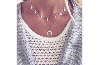 Anglacesmade Bohemian Silver Layered Choker Necklace Upside Down Moon Necklace Crescent Moon Pendant Station Chain Discs Tassels Choker Double Horn Necklace for Women and Girls