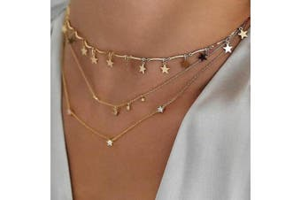 Anglacesmade Bohemia Layered Choker Necklace Star + Moon Charm Pendant Necklace Delicate Adjustable Chain Multilayer Necklaces for Women and Girls