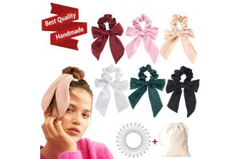 (Satin, 6PCS) - 6Pcs Hair Scrunchies Bow silk Elastics Hair Bands Scrunchy Hair Rope Ties Ponytail Holder Accessories for Women Girls