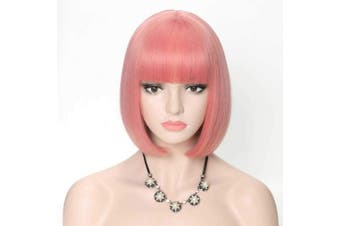 (Pink Bob Wig #2312) - COSYCODE 28cm Pink Short Bob Wig with Bangs Synthetic Cosplay Wigs for Halloween Party