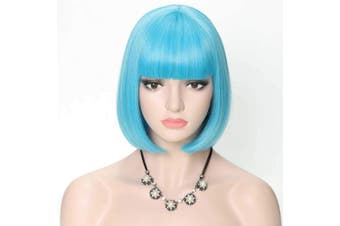 (Gorgeous Blue Bob Wig #85C/08C) - COSYCODE 28cm Light Blue Short Bob Wig with Bangs Synthetic Cosplay Wigs for Halloween Party