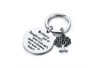 """CJ & M Family Tree Keychain Mother Daughter Gift""""Mothers and Daughters Never Truly Part, Maybe in Distance.Mother Daughter Keychain,Christmas Gifts,Mother's Day Gifts"""