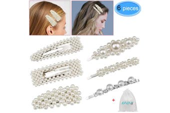 6 Pieces Pearls Hair Clips Hair Barrettes Decorative Handmade Pearl Wedding Hairpins Hair Styling Accessories with 1 Gift Bag for Women Girls By EAONE