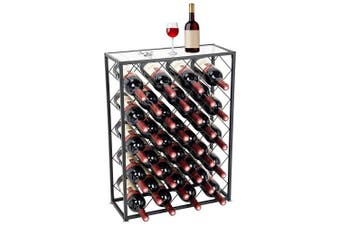 Display4top 32 Bottle Display Wine Rack with Glass Table Top, Ideal for Bar Wine Cellar Basement Cabinet Pantry Pantry Kitchen,Black