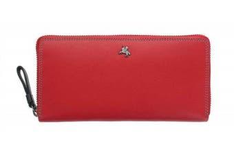 (Red) - Visconti Spectrum Collection Violet Leather Zip Around Purse RFID SP79 Red