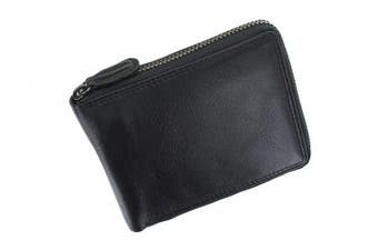 (Black) - Visconti Heritage Camden Zip Around Leather Wallet RFID and Tap and Go HT14 Black