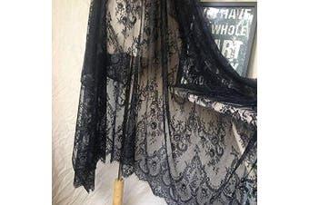 (Black) - Ivory Lace Fabric Eyelash Chantilly Floral Bridal/Wedding Dress Flower African Lace Table Cloth DIY Crafts Scallop Trim Applique Ribbon Curtains 300cmx150cm ALE02 (Black)