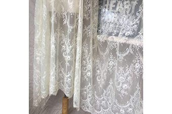 (Dark Ivory) - Ivory Lace Fabric Eyelash Chantilly Floral Bridal/Wedding Dress Flower African Lace Table Cloth DIY Crafts Scallop Trim Applique Ribbon Curtains 300cmx150cm ALE02 (Dark Ivory)