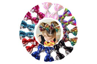 16PCS 13cm Reversible Sequin Bows with Alligator Hair Clips Sparkly Sequin Glitter Pigtail Hair Bows for Girls Toddlers Kids Children in Pairs