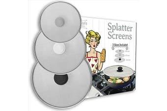 Splatter Screen for Frying Pan - Grease Splatter Guard - Set of 3 – No Cooking Oil Mess – No Burns – Ultra Fine Mesh Lids – Rust Free Stainless Steel