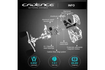(Left – 7.3:1) - Cadence CB6 Baitcasting Reels Lightweight with Aluminium Main Gear Fishing Reels with 8+1 Corrosion Resistant Bearings Baitcaster Reels with Carbon Fibre Drag 6.6:1 7.3:1 Gear Ratio Casting Reels