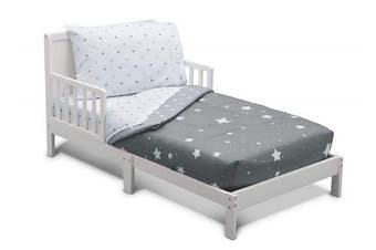 (Dusty Sky Grey) - Delta Children Toddler Bedding Set | Boys 4 Piece Collection | Fitted Sheet, Flat Top Sheet w/Elastic Bottom, Fitted Comforter w/Elastic Bottom, Pillowcase, Dusty Skies | Grey