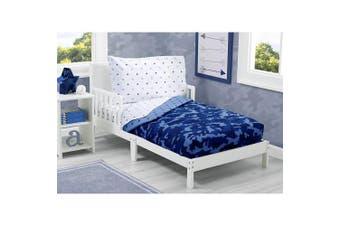 (Camo Stars) - Toddler Bedding Set | Boys 4 Piece Collection | Fitted Sheet, Flat Top Sheet w/Elastic Bottom, Fitted Comforter w/Elastic Bottom, Pillowcase | Delta Children | Boys Camo Stars | Blue