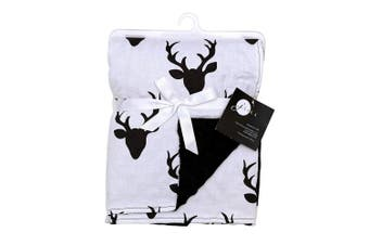 Baby Blankets for Boys Girls - Swaddle Newborn Receiving Minky Blanket Boy Girl by JLIKA (Black White Deer Antlers)