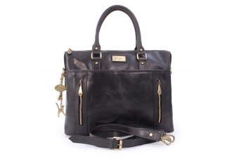 (Black) - Catwalk Collection Handbags - Ladies Leather Briefcase Cross Body Bag - Women's Organiser Work Bag - Tablet/Laptop Bag - ADELE