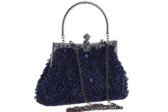 (Blue) - Coucoland Vintage Pearl Bag 1920s Flapper Clutch Handbag Glitter Sequin Clutch Bag for Women Roaring 20s Evening Clutch Beaded Bag Gatsby Costume Accessories Wedding Party