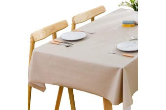 (137x215 cm, Beige) - Plenmor Heavy Weight Vinyl Tablecloth for Rectangle Table Wipe Clean PVC Table Cloth Oil-Proof/Waterproof Stain-Resistant/Mildew-Proof (Beige, 137x215 cm)