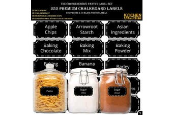 """(Pantry - Black) - 252 Preprinted 3"""" X 1.5"""" Chalkboard Pantry Labels Set w/Extra Write-on Stickers for Jars, Bottles, Containers & Canisters - Include an Exclusive Numbered Reference sheet - Waterproof & Tear-Resistant"""