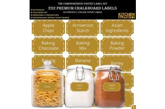 """(Pantry - Gold [Special Edition]) - 252 Preprinted Pantry Labels Set: 3"""" X 1.5"""" Gold Pantry Label w/Extra Blank Stickers for Jars, Bottles, Containers & Canisters – w/an Exclusive Numbered Reference sheet – Waterproof & Tear-Resistant"""