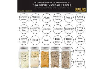 "(Spice - Clear Edition) - 396 Printed Spice Jars Labels and Pantry Stickers: Clear Round Spices Label 3.8cm & Pantry Sticker 3"" X 1.5"" With Write-On Labels – Include a Numbered Reference Sheet – Water-Resistant"