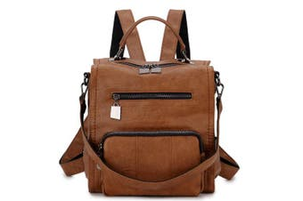 (Brown) - Backpacks for Women,RAVUO PU Leather Backpack Rucksack Fashion Shoulder Bag for Ladies Girls Casual School Daypack Three Ways to Carry