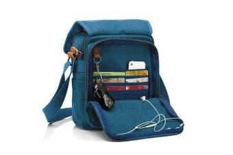 (Army Green) - CHEREEKI Canvas Bag, Shoulder Bag Messenger Bag with Multiple Pockets (Hold 25cm Tablet, iPad, Kindle) (Army Green)