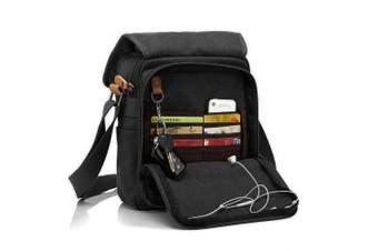(Black) - CHEREEKI Canvas Bag, Shoulder Bag Messenger Bag with Multiple Pockets (Hold 25cm Tablet, iPad, Kindle)