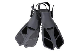 (S/M, Black) - CAPAS Snorkel Fins, Swim Fins Travel Size Short Adjustable for Snorkelling Diving Adult Men Womens Kids Open Heel Swimming Flippers