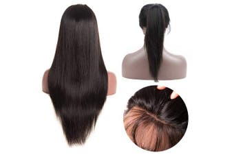 (25cm  straight) - 360 Lace Frontal Wigs Brazilian Straight Wig Pre Plucked With Baby Hair 130-150% Density Lace Front Human Virgin Remy Hair Wigs For Black Women Natural Colour (25cm )