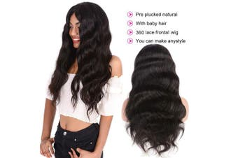 (60cm  body wave) - Brazilian Body Wave 360 Lace Frontal Wigs Human Hair Wig Pre Plucked With Baby Hair 150% Density Lace Front Virgin Remy Hair Wig For Black Women Natural Colour Alot (60cm )