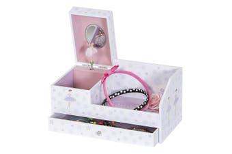 (Medium, White) - Mele & Co. Bethany Girl's Musical Ballerina Jewellery Box & Organiser (Ballerina & Polka Dot Design)