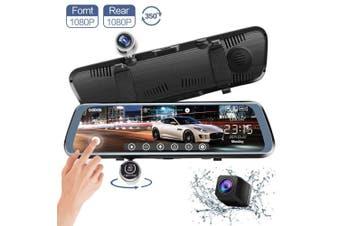 (10 Inch) - CHICOM Mirror Dash Cam, V33 25cm Full Touch Screen 350 Degrees 1080P Rotating Front Camera + 1080P Rear View Dual Recording Stream Media Dashboard Camera Car DVR Recorder