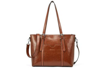 (Brown, Large) - BOSTANTEN Womens Genuine Leather Handbags Large Capacity Retro Vintage Top-Handle Casual Tote 40cm Laptop Shoulder Bags Brown