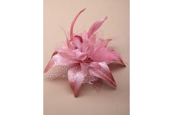 (Pink) - Large Feather Flower Fascinator On Clear Comb Pink Cream Black Or Brown
