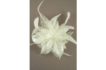(Cream) - Large Feather Flower Fascinator On Clear Comb Pink Cream Black Or Brown