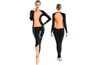 (Medium for Women, Black/Orange) - COPOZZ Diving Skin, Men Women Youth Thin Wetsuit Rash Guard- Full Body UV Protection - for Diving Snorkelling Surfing Spearfishing Sport Skin