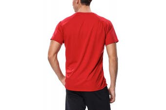 (XX-Large, Red) - ATTRACO Men's Rashguard Swim Tee Short Sleeve Sun Protection Shirt Loose Fit