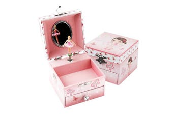 TAOPU Sweet Square Musical Jewellery Box with Pullout Drawer and Music Box with dancing Ballerina Girl inside Jewel Storage Case for Girls