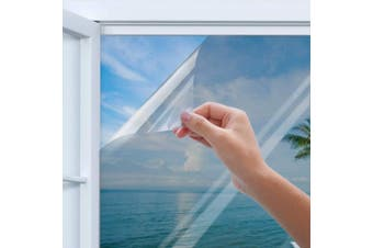 (90cm  x 200cm ) - Privacy Window Film, Homegoo One Way Silver Reflective Adhesive Window Film, Anti UV Heat Control Sun Blocker, Privacy Protection Glass Tint Sticker, 90 x 200 cm(35.4 x78.7 inch)