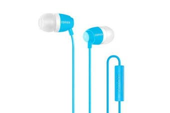 (With Microphone, Blue) - Edifier P210 in-Ear Headphones with Mic for Mobile Headset - Blue