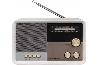 (White Sand) - Crosley CR3036D Tribute Vintage AM/FM Bluetooth Radio, White Sand