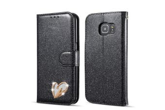 (Samsung Galaxy S6 Edge, Black) - QLTYPRI Samsung Galaxy S6 Edge Case, Glitter Premium PU Leather TPU Bumper Card Holder [Wrist Strap] Wallet Case with Cute Inlaid Loving Heart Diamond Flip Cover for Samsung Galaxy S6 Edge - Black