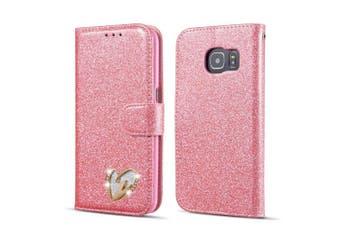 (Samsung Galaxy S6 Edge, Pink) - QLTYPRI Samsung Galaxy S6 Edge Case, Glitter Premium PU Leather TPU Bumper Card Holder [Wrist Strap] Wallet Case with Cute Inlaid Loving Heart Diamond Flip Cover for Samsung Galaxy S6 Edge - Pink
