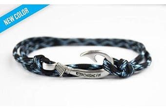 (Lightning) - Chasing Fin Adjustable Bracelet 550 Military Paracord with Fish Hook Pendant