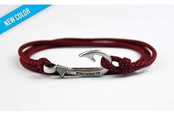 (Imperial Red Diamonds) - Chasing Fin Adjustable Bracelet 550 Military Paracord with Fish Hook Pendant