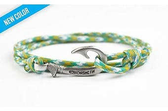 (Gale Force) - Chasing Fin Adjustable Bracelet 550 Military Paracord with Fish Hook Pendant