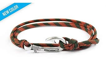 (Decoy) - Chasing Fin Adjustable Bracelet 550 Military Paracord with Fish Hook Pendant