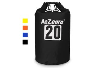 (10L, Black) - A2ZCARE Waterproof Dry Bag 10L, 20L with Shoulder Strap Included | Keeps Gear Dry for Kayaking, Beach, Rafting, Boating, Hiking, Camping and Fishing
