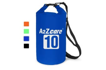 (10L, Dark Blue) - A2ZCARE Waterproof Dry Bag 10L, 20L with Shoulder Strap Included | Keeps Gear Dry for Kayaking, Beach, Rafting, Boating, Hiking, Camping and Fishing